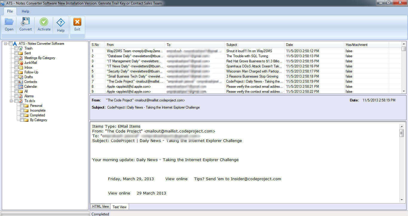 NSF to MSG Converter